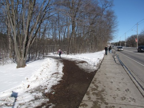 University Avenue by Westmount. There is a muddy path towards Ring Road and a too-narrow sidewalk adjacent to the road. Buses are frequently found in that bike lane.