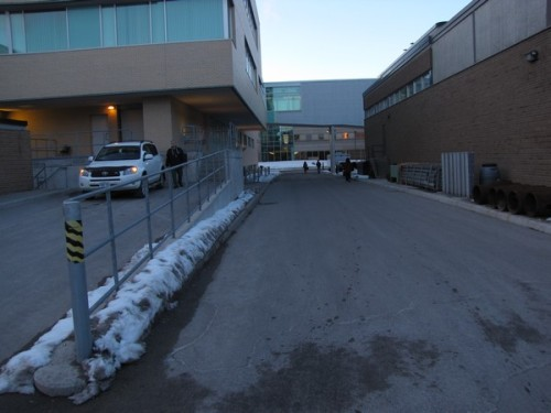 This is a main path to the engineering lecture hall (RCH), but it is clear to pedestrians that it's not their turf.